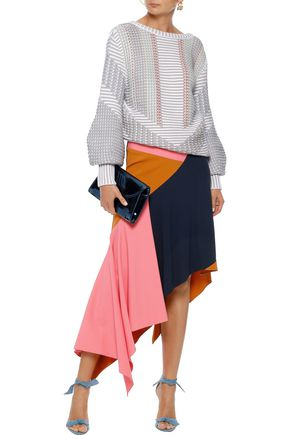 PETER PILOTTO Asymmetric color-block cady midi skirt