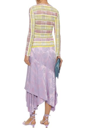 PETER PILOTTO Wrap-effect satin-jacquard midi skirt