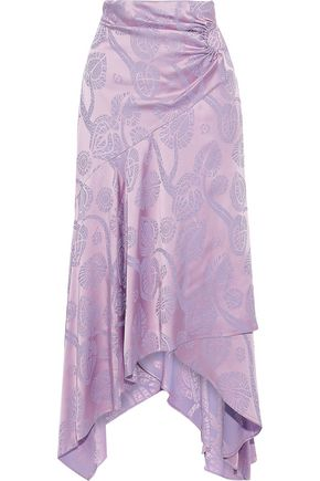 PETER PILOTTO Wrap-effect satin-jacquard midi skirt