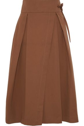 IRIS & INK Jade wrap-effect pleated cotton-twill skirt