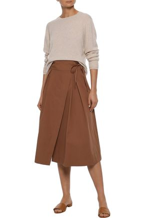 IRIS & INK Jade wrap-effect pleated cotton-twill skirt