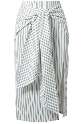 JASON WU Tie-front striped poplin midi skirt