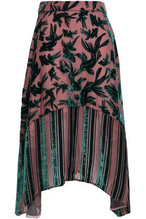MARKUS LUPFER Asymmetric devoré chiffon skirt