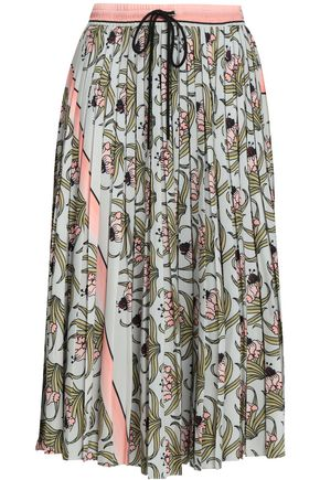 MARKUS LUPFER Pleated floral-print crepe de chine midi skirt