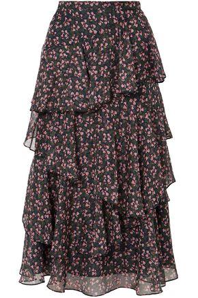 ALEXACHUNG Tiered floral-print chiffon midi skirt