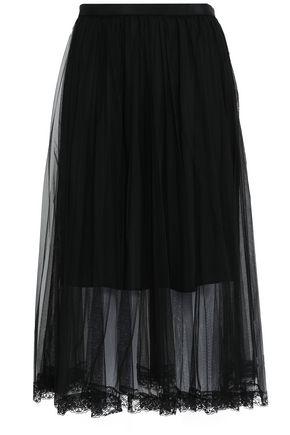 MARKUS LUPFER Lace-trimmed tulle midi skirt