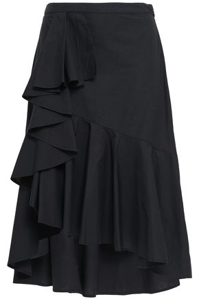 JOIE Asymmetric draped cotton-poplin skirt