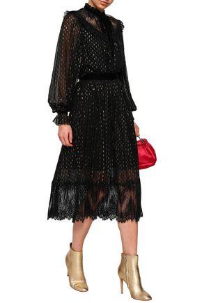 PERSEVERANCE Lace-paneled metallic  fil coupé silk-blend midi skirt