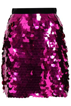 PERSEVERANCE Velvet-trimmed sequined woven mini skirt