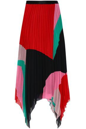 JOIE Color-block georgette plissé midi skirt