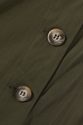 IRIS & INK Natalia button-detailed cotton-poplin skirt