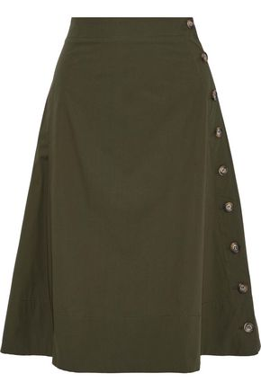 IRIS & INK Natalia button-detailed cotton-poplin skirt