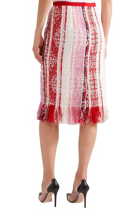 OSCAR DE LA RENTA Fringe-trimmed bouclé-tweed pencil skirt
