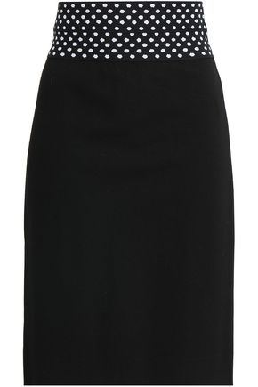 DIANE VON FURSTENBERG | Diane Von Furstenberg Elsa Polka-dot Stretch-knit Pencil Skirt | Goxip