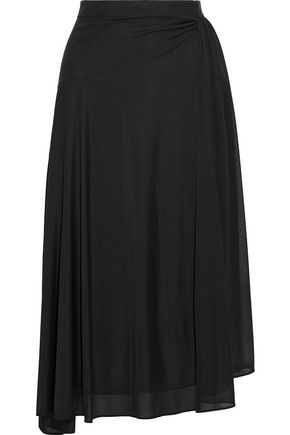 IRIS & INK Julia gathered stretch-knit midi skirt