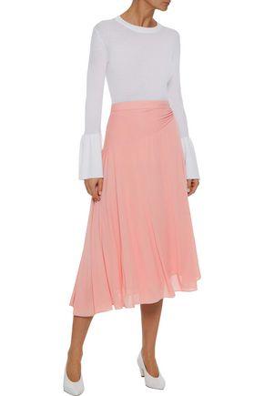 IRIS & INK Julia gathered stretch-knit midi skirt