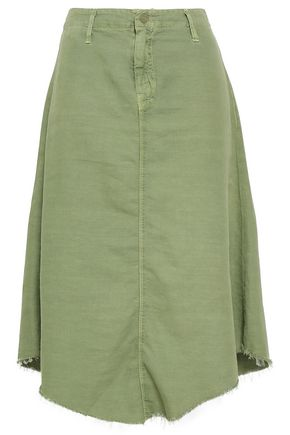 MOTHER Asymmetric cotton-blend gabardine skirt
