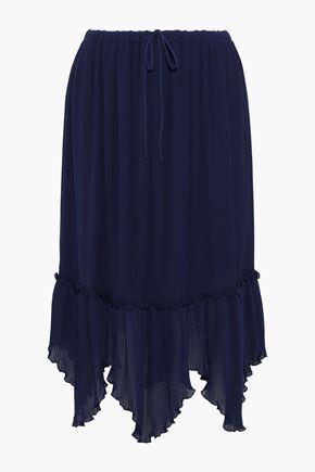 SEE BY CHLOÉ Asymmetric plissé-chiffon midi skirt
