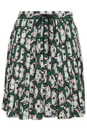 MARKUS LUPFER Pleated printed crepe mini skirt