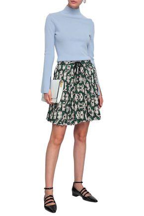 MARKUS LUPFER Pleated printed crepe mini skirt