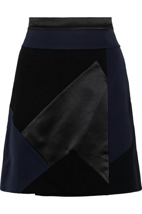 VICTORIA, VICTORIA BECKHAM Patchwork satin and crepe mini skirt