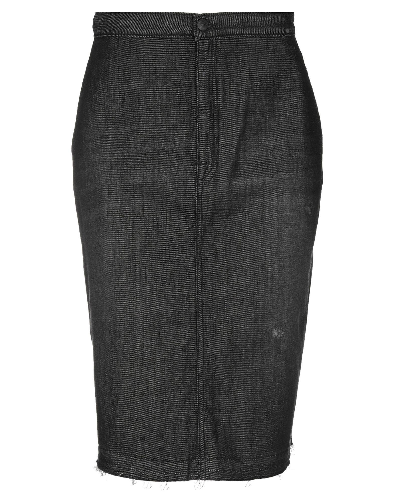 《セール開催中》(+) PEOPLE レディース デニムスカート ブラック 25 コットン 100%
