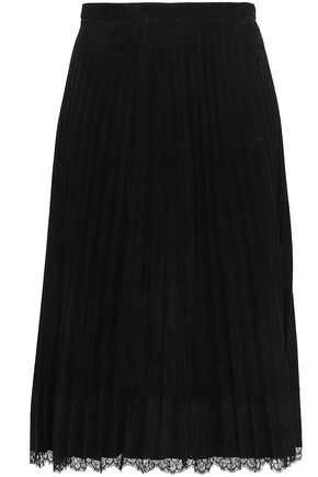 REDValentino Lace-trimmed pleated suede midi skirt