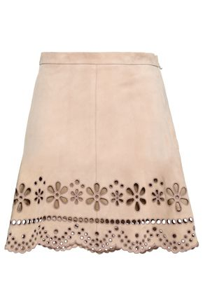 REDValentino Broderie anglaise suede mini skirt