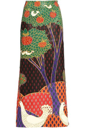 REDValentino Embroidered printed leather midi skirt