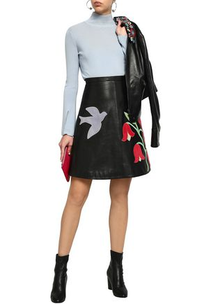 REDValentino Embroidered suede and leather mini skirt
