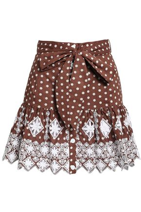 MIGUELINA Polka-dot broderie anglaise cotton mini skirt