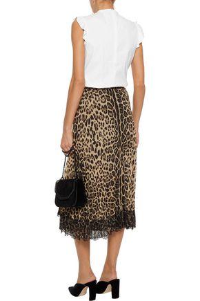 REDValentino Lace-paneled leopard-print chiffon midi skirt