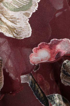 ALICE + OLIVIA Walker asymmetric floral-print fil coupé chiffon skirt