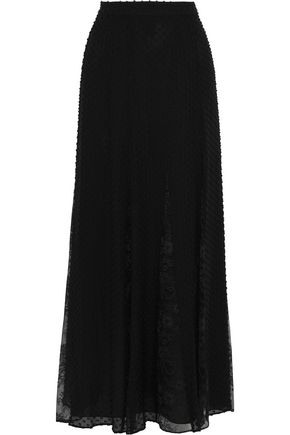 ALICE + OLIVIA Athena lace-paneled fil coupé silk and cotton-blend maxi skirt