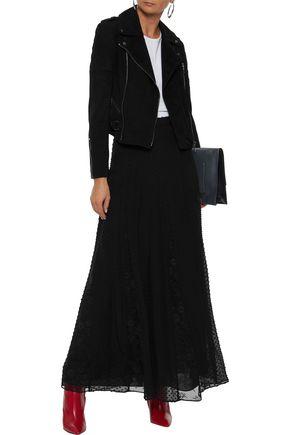 ALICE + OLIVIA Athena lace-paneled fil coupé silk and cotton-blend maxi skirt
