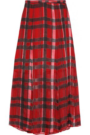 ALICE + OLIVIA Athena checked burnout georgette midi skirt