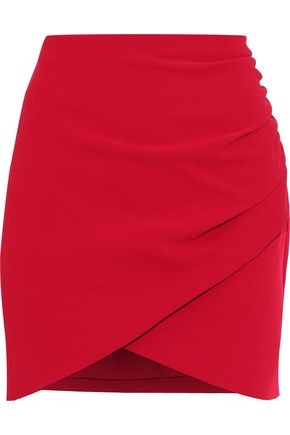 ALICE + OLIVIA Fidela ruched crepe mini skirt