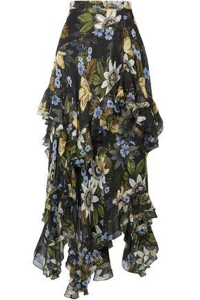 ERDEM Ruffled floral-print silk-georgette midi skirt