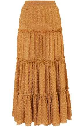 MISSONI Tiered metallic crochet-knit maxi skirt