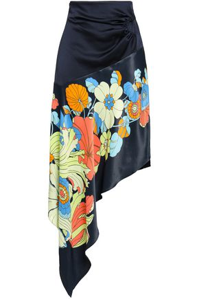 PETER PILOTTO Ruched printed satin-crepe skirt