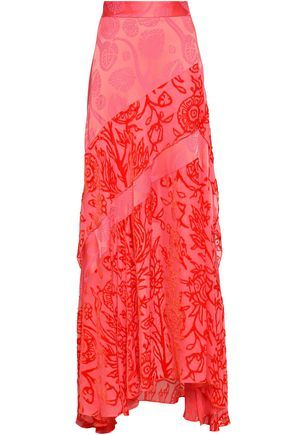 PETER PILOTTO Devoré chiffon-paneled jacquard maxi skirt