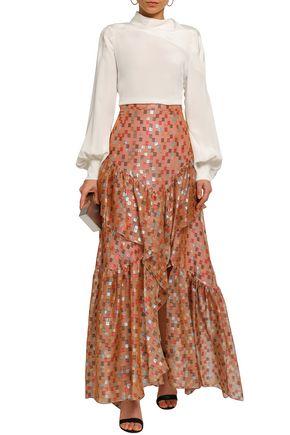 PETER PILOTTO Tiered silk-blend fil coupé and organza maxi skirt
