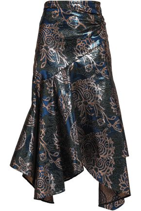 PETER PILOTTO Ruched metallic-jacquard midi skirt