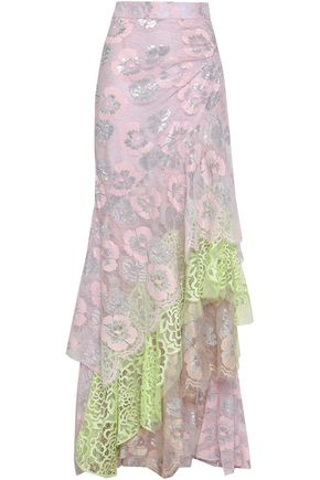 PETER PILOTTO Ruched metallic lace maxi skirt