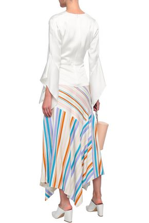 PETER PILOTTO Ruched striped jersey midi skirt