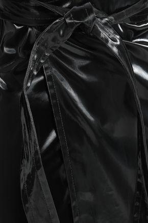 HELMUT LANG Belted cotton-blend wrap skirt