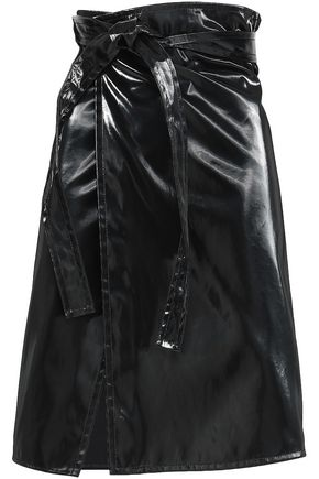 HELMUT LANG Belted cotton-blend wrap skirt