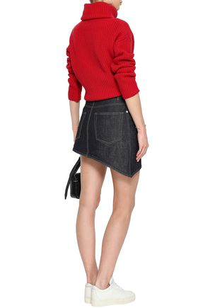 HELMUT LANG Asymmetric denim mini skirt