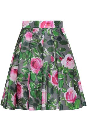 REDValentino Pleated floral-print faille mini skirt