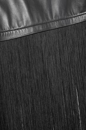 HELMUT LANG Fringe-trimmed leather midi skirt